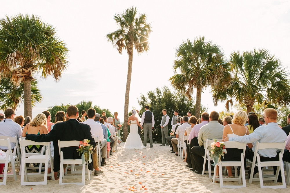 Wedding on the Beach at Charleston Harbor
