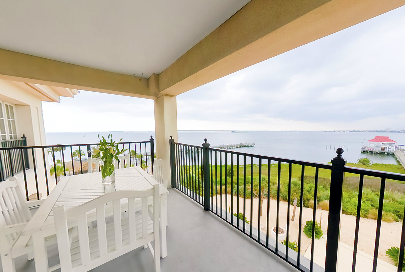 Oceanside Hotel Suite Balcony with Table